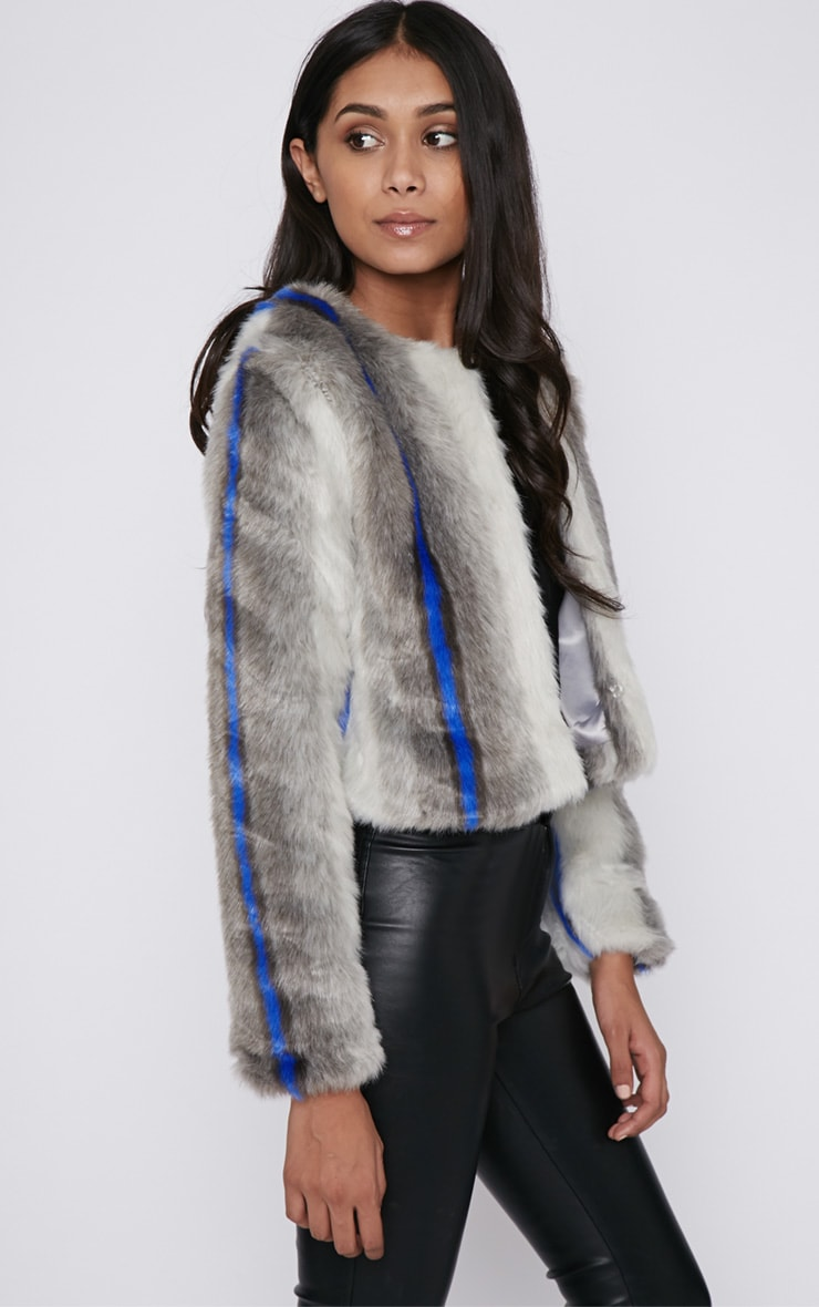 Preslie Grey Cropped Faux Fur Jacket with Cobalt Stripe 3