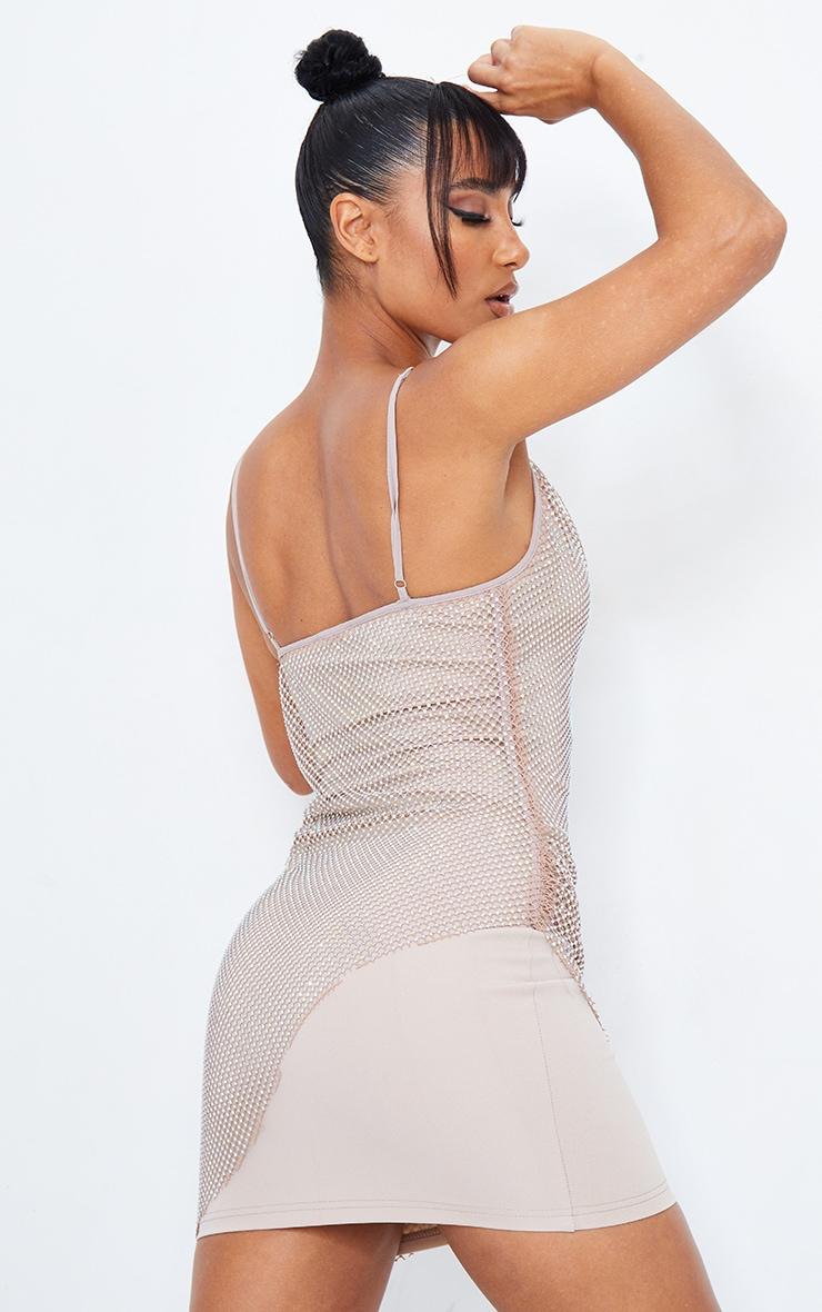 Taupe Diamante Strappy Cowl Neck Bodycon Dress 2