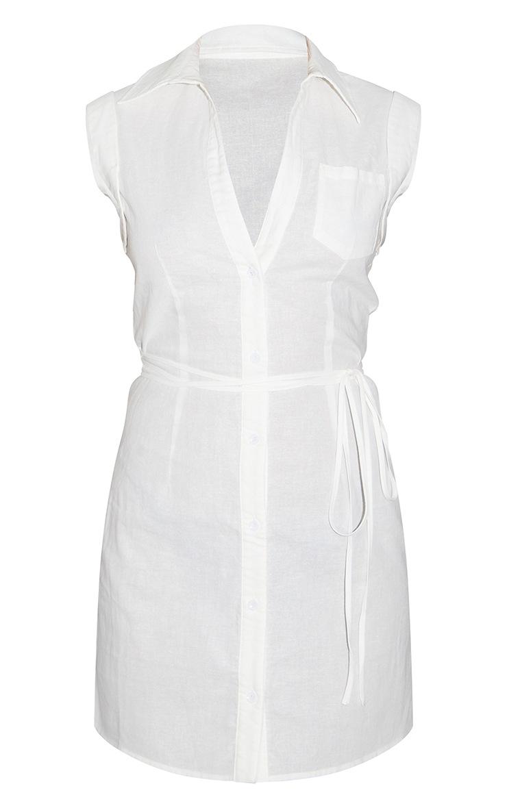 White Linen Polo Collar Wrap Tie Sleeveless Shirt Dress 5