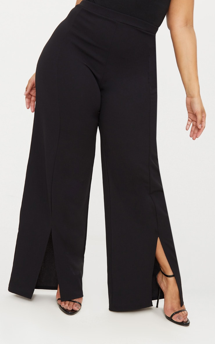 Plus Black Split Hem Straight Leg Trousers 2
