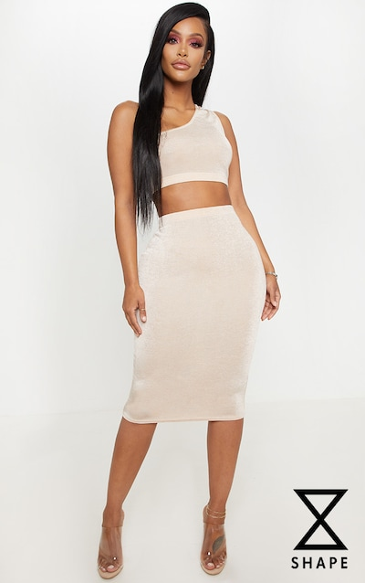 2b305523658 Shape High Waisted Nude Slinky Midi Skirt