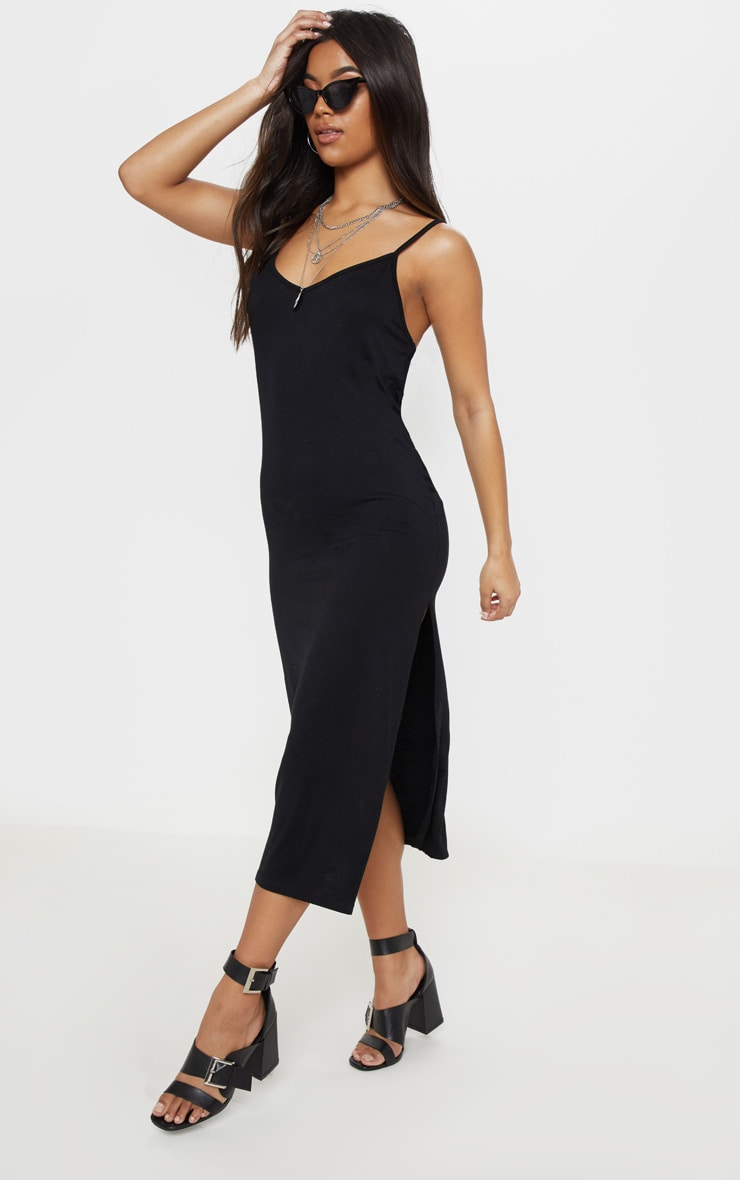 d74651b1da26 Black Jersey Split Midi Dress image 1