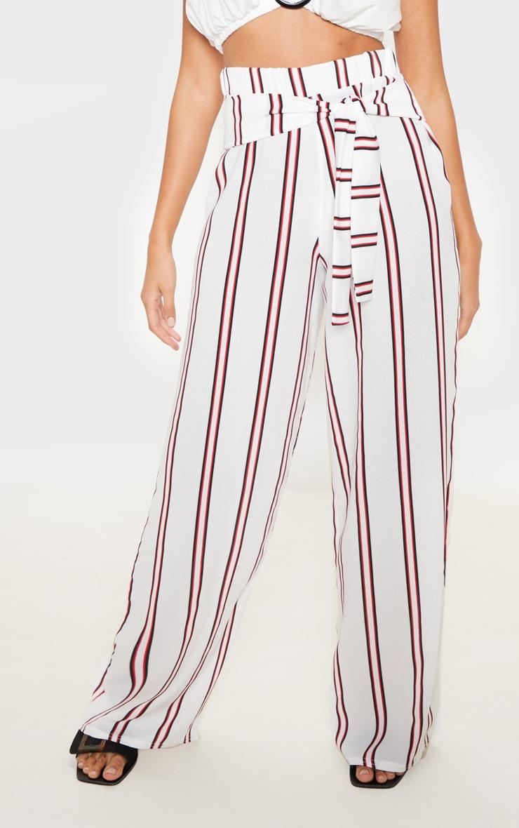 Pantalon tissé blanc à rayures et lien à nouer 2