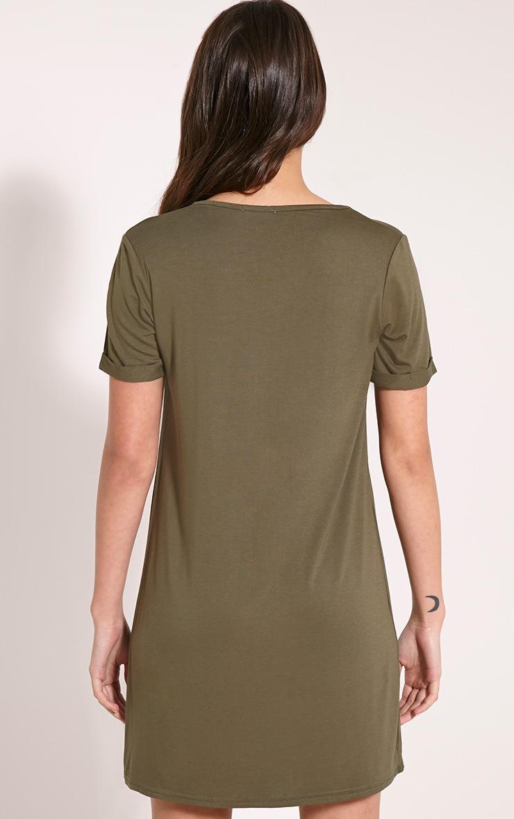 Basic Khaki Boyfriend Jersey T-Shirt Dress 2