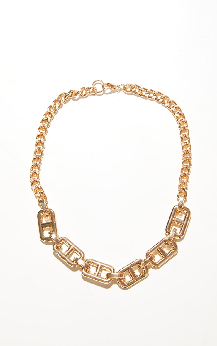 Gold Chunky Small  Square Link Necklace 4