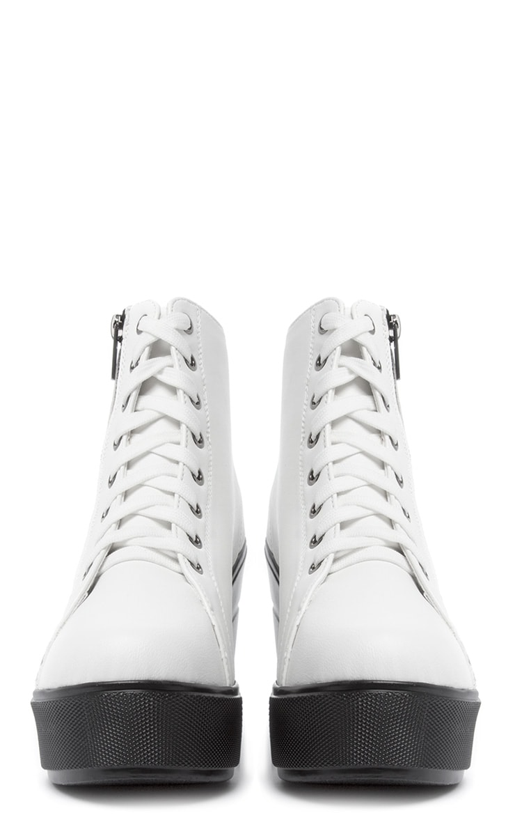 Mila White Lace Up Boot  4