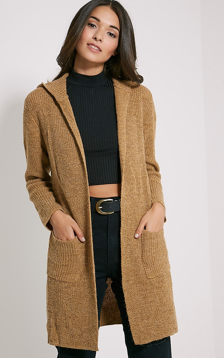 Selene Camel Knitted Hooded Cardigan 1