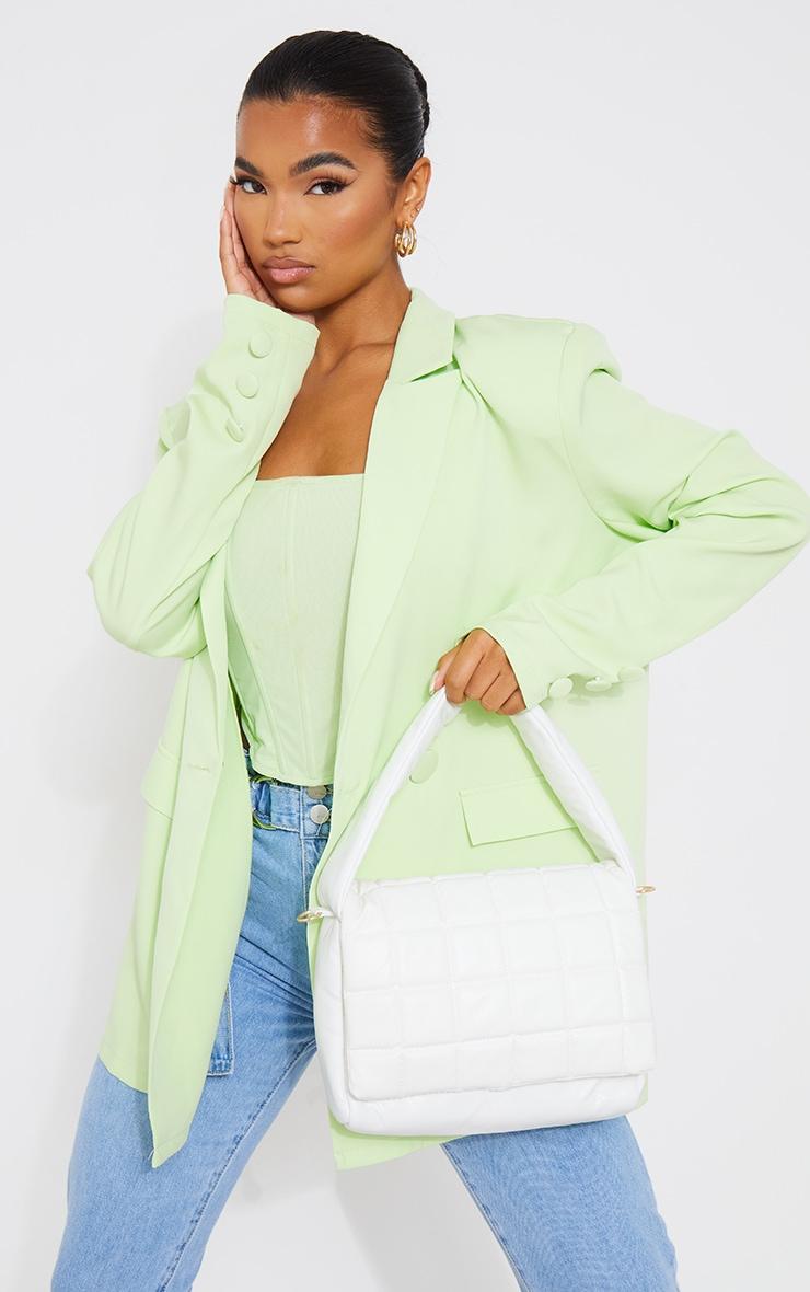 White Oversized Quilted Shoulder Bag 1