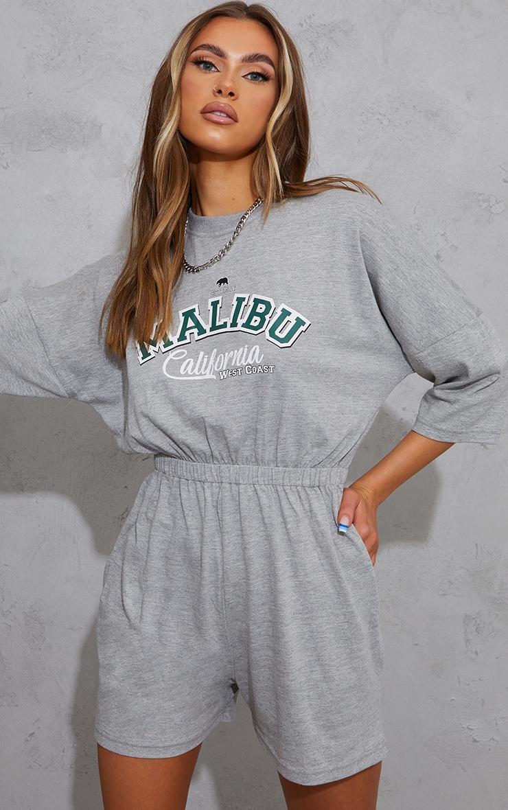 Grey Marl Malibu Edition T Shirt Playsuit 3