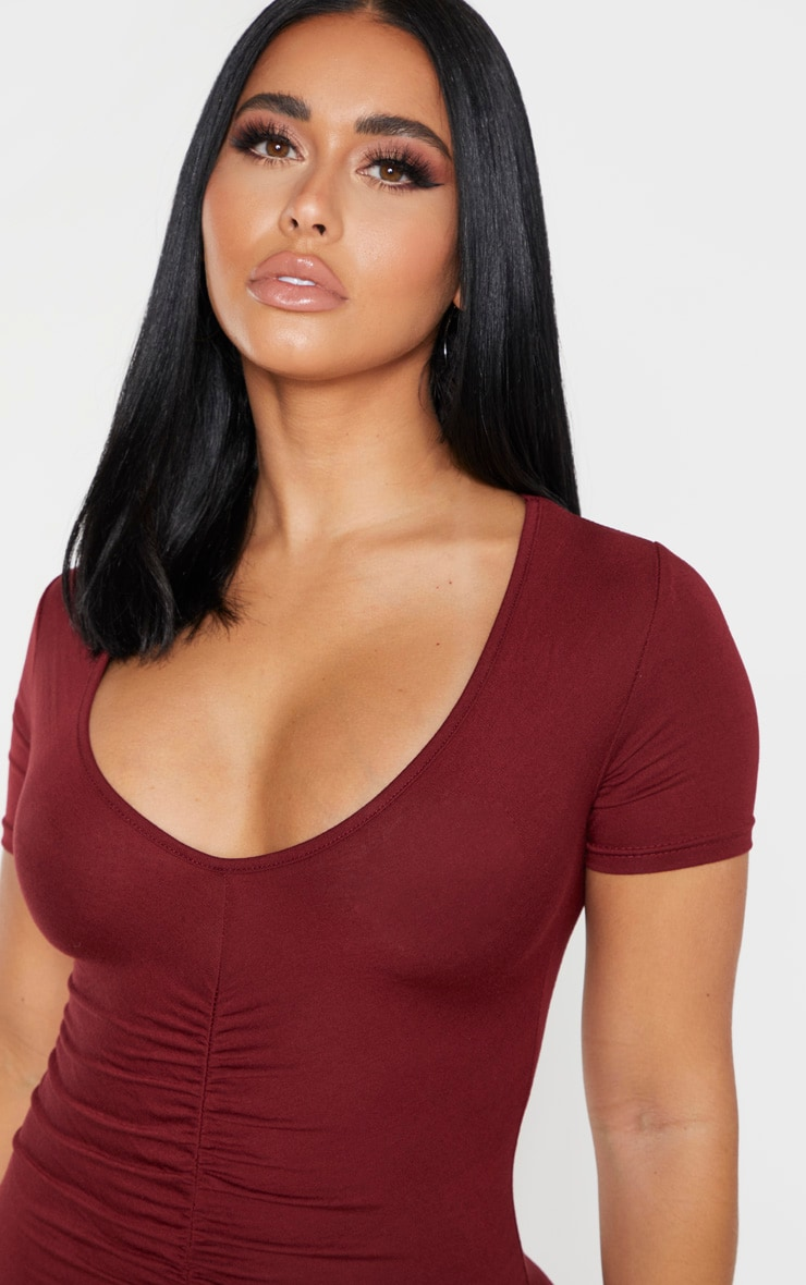 Shape Burgundy Jersey Ruched Cap Sleeve Dress  4