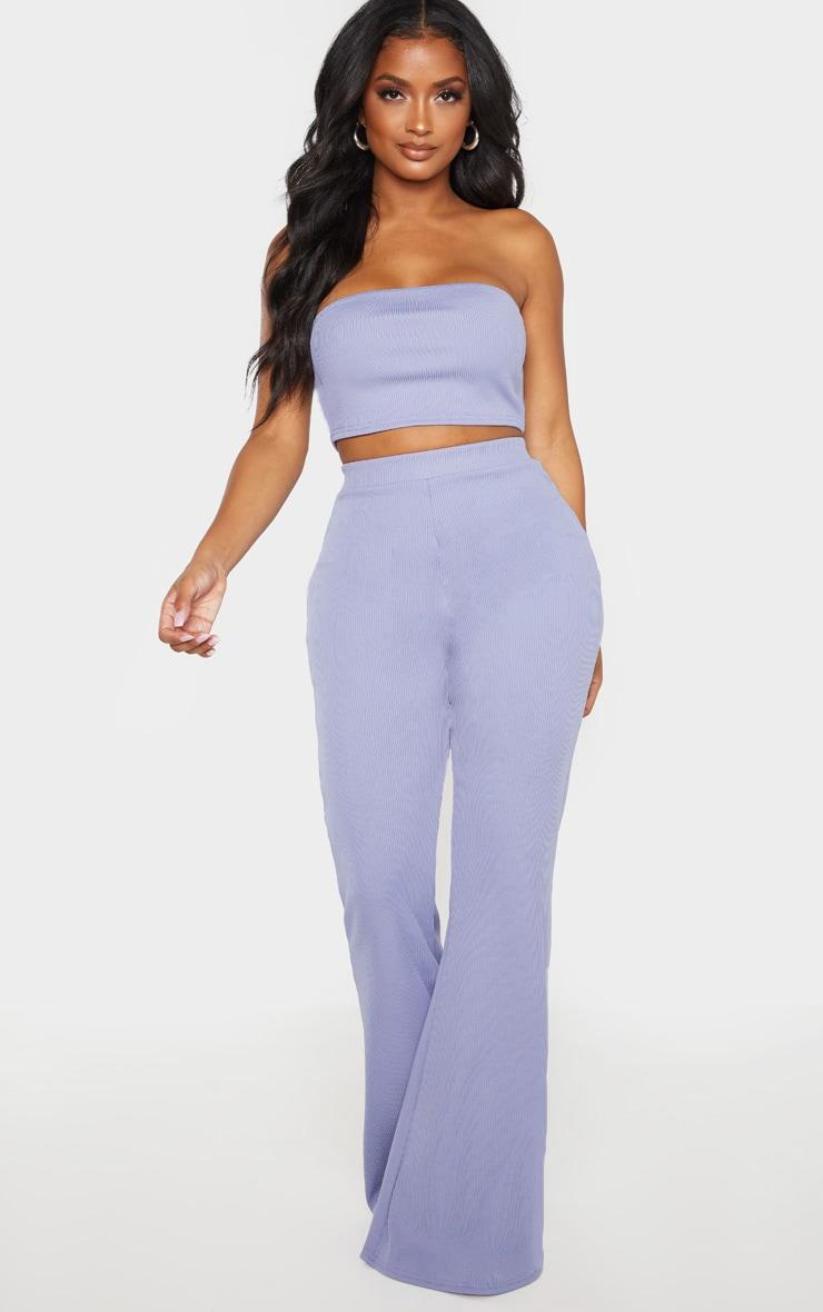 Shape Dusty Blue Rib Flare Trouser  1