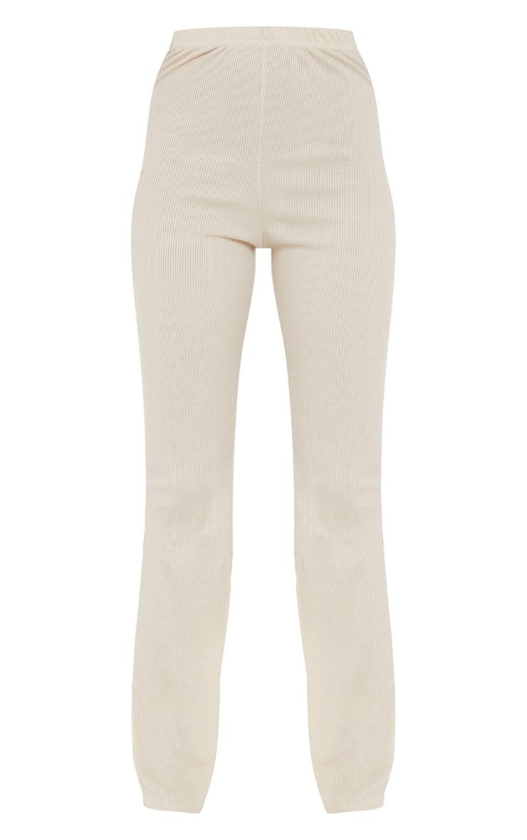 Oatmeal Ribbed Straight Leg Trousers 5