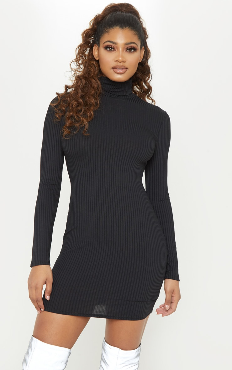 Tall Black Rib High Neck Bodycon Dress 1
