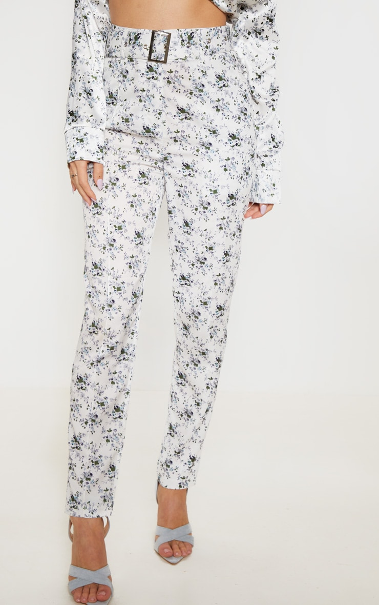 White Floral Belted Tailored Pants 2