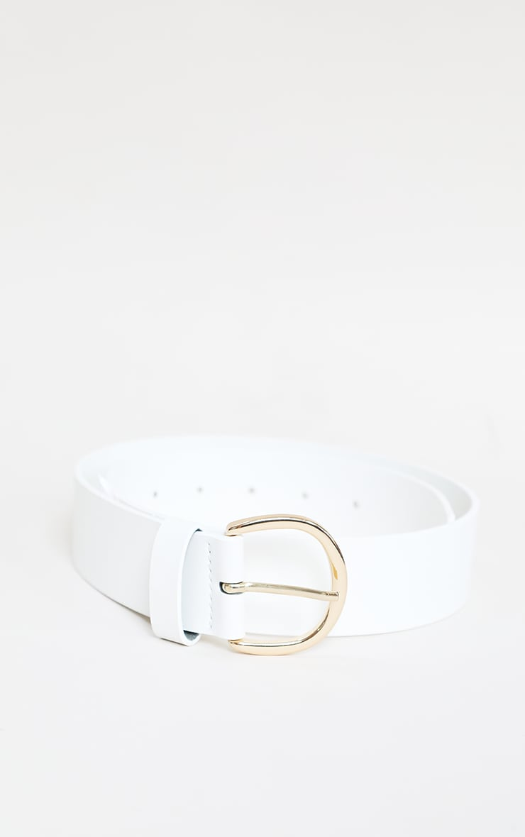 White Thick Gold Buckle Waist Belt 3
