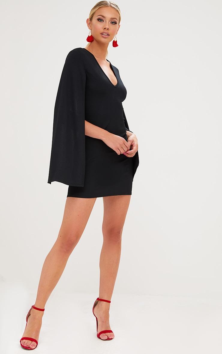 Black Split Arm Bodycon Dress 4