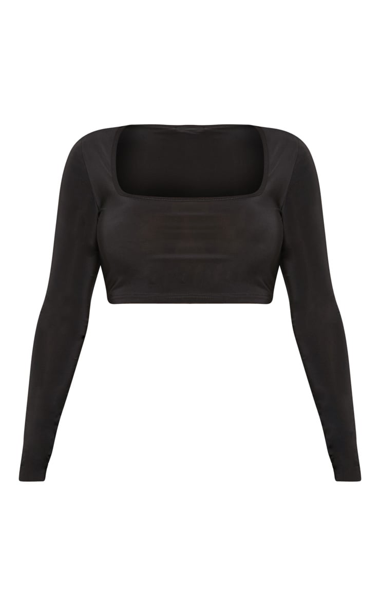 Shape Black Slinky Square Neck Long Sleeve Crop Top  3