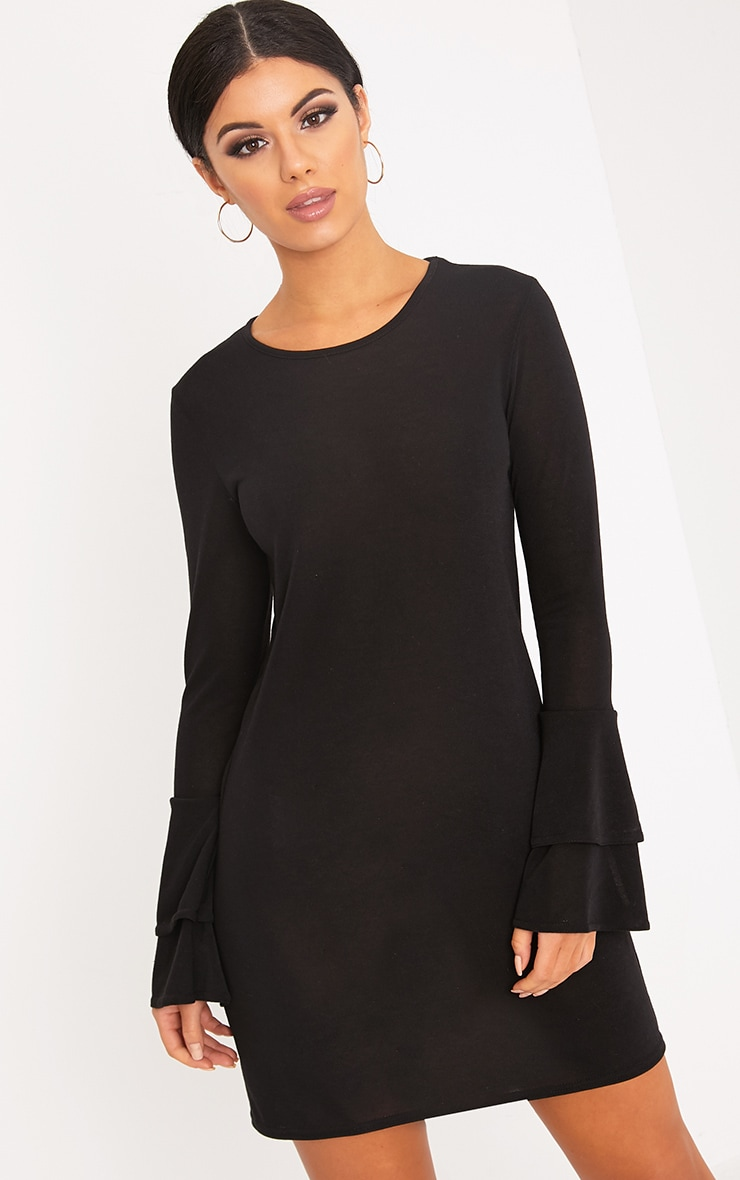 Marlini Black Double Frill Sleeve Knitted Mini Dress 1