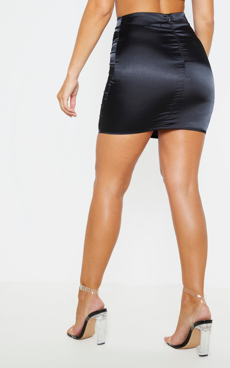 Black Satin High Waist Mini Skirt 4