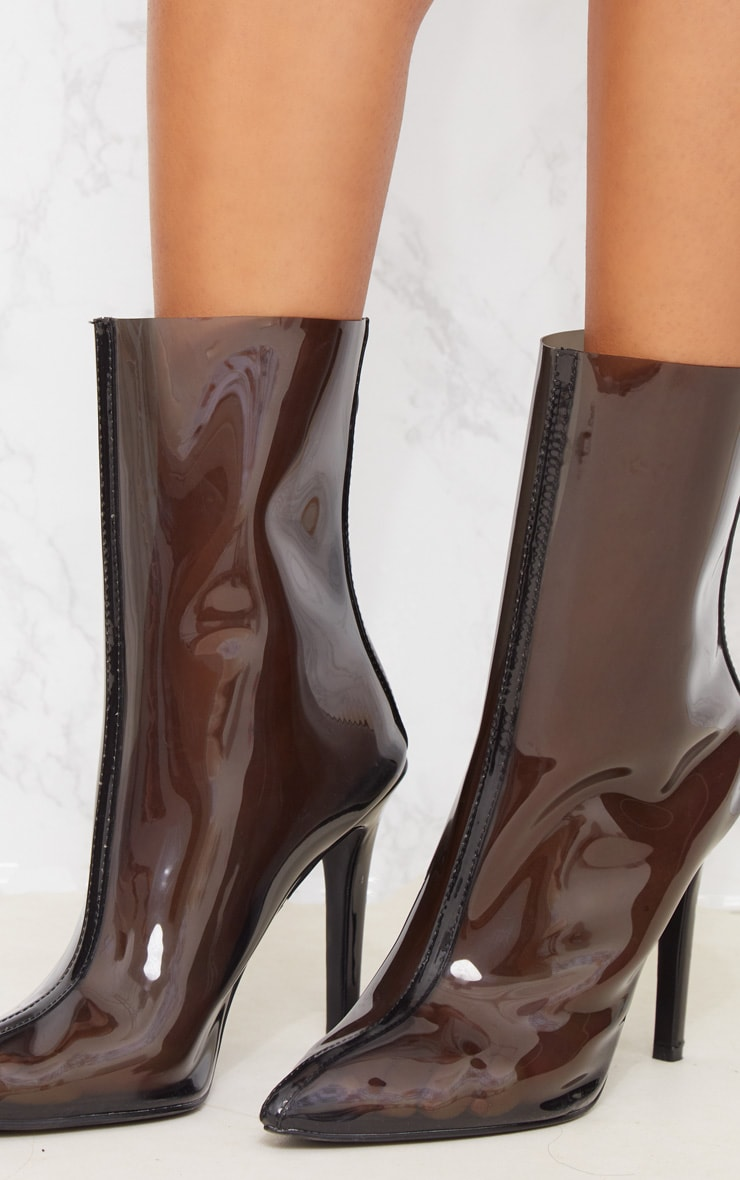 Black Clear Pointed Zip Back Heeled Boot 6
