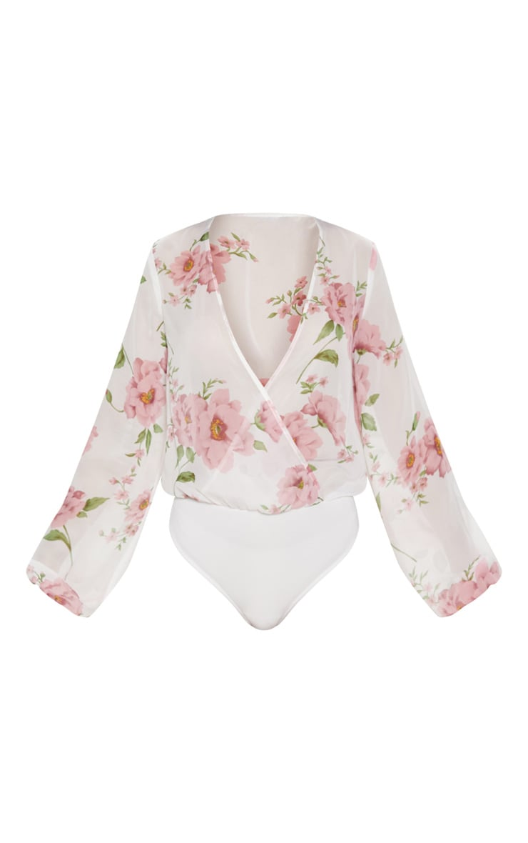 White Rose Print Long Sleeved Wrap Bodysuit 3