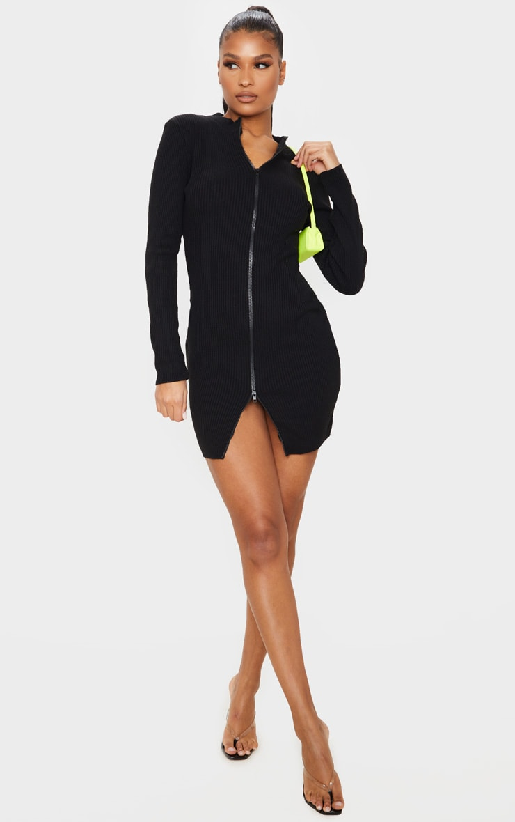 Black Double Ended Zip Knitted Dress 3