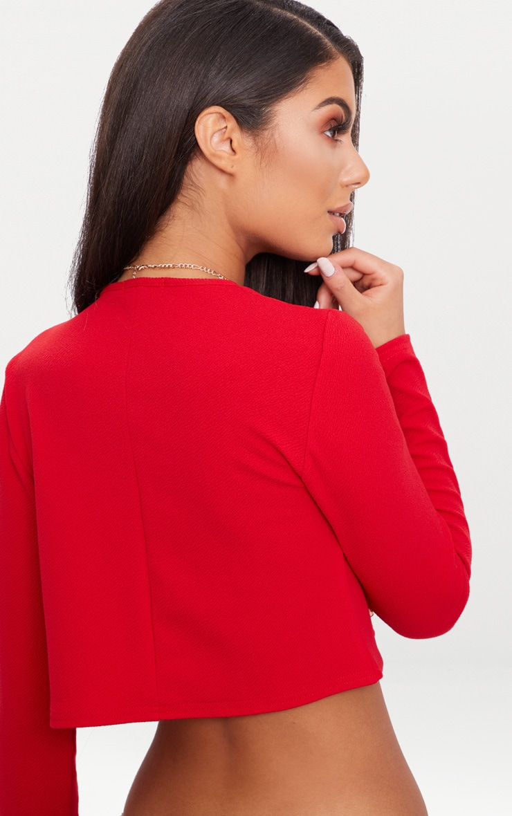 Red Military Cropped Jacket  2