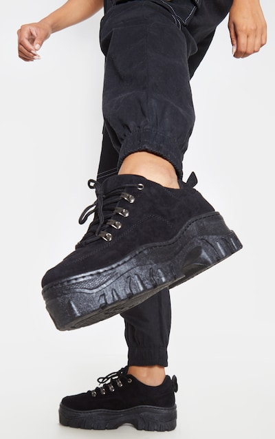 Black Faux Suede Flatform Chunky Hiker Trainer