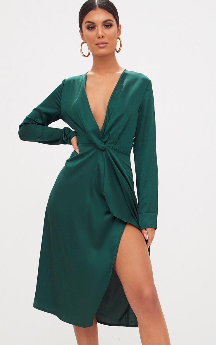 Emerald Green Satin Long Sleeve Wrap Midi Dress 1