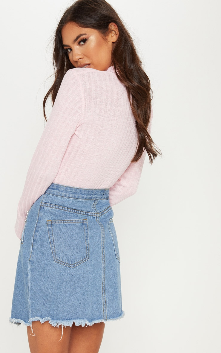 Baby Pink Long Sleeve High Neck Top 2