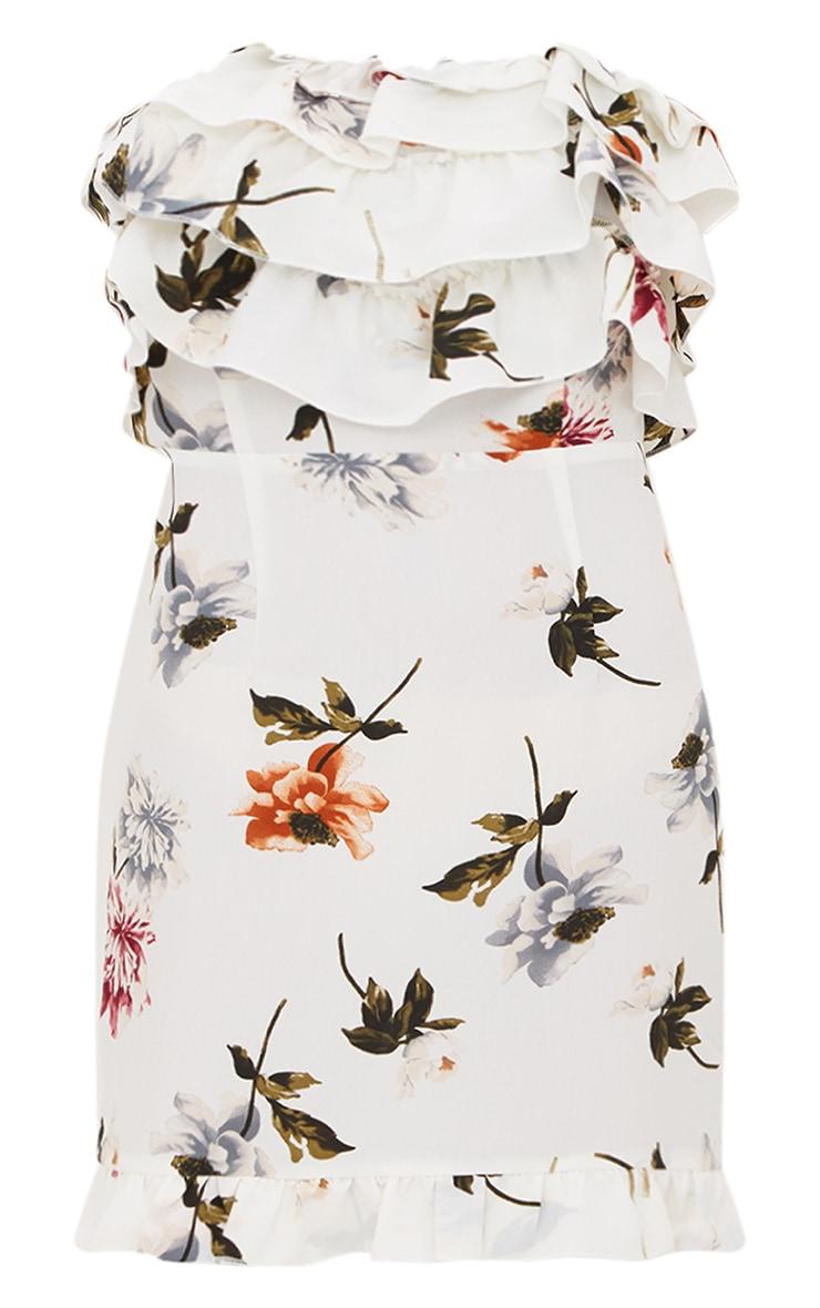 White Floral Print Ruffle Detail Bandeau Bodycon Dress  3