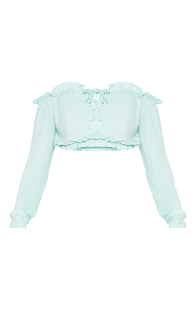 Mint Jersey Bardot Key Hole Crop Top  3