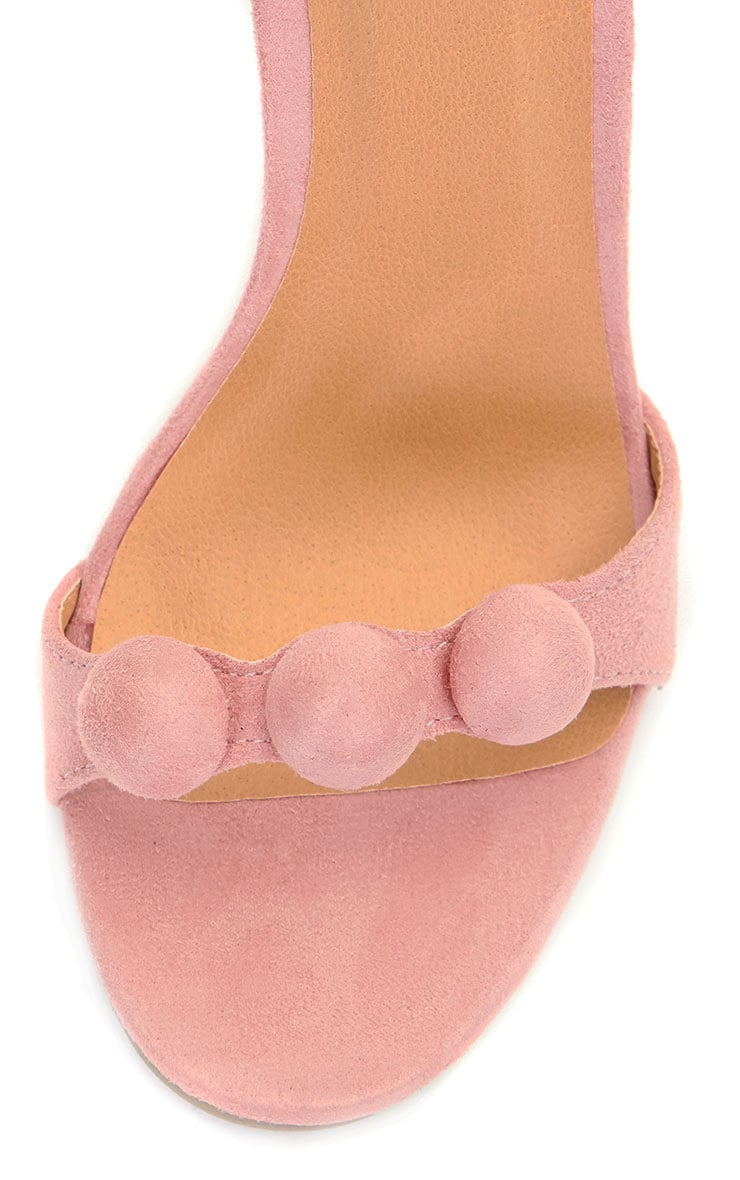 Una Pink Suede Studded Strappy Heeled Sandal 4