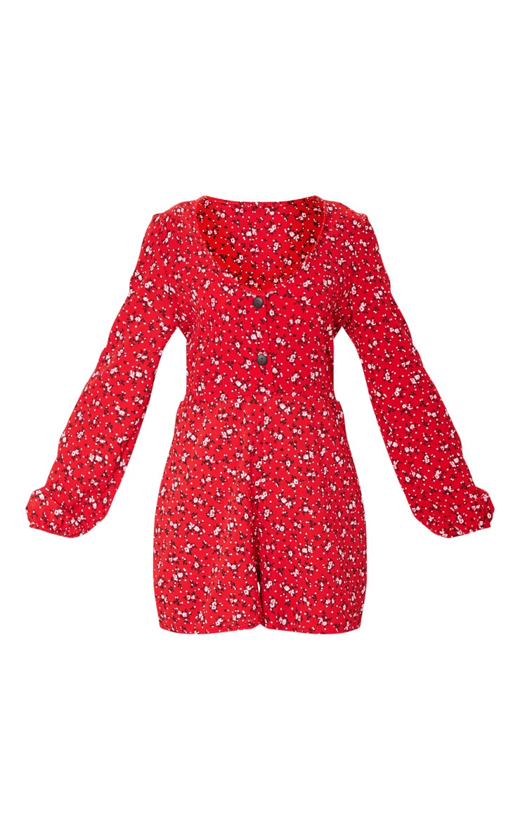 Red Ditsy Floral Long Sleeve Button Playsuit 5