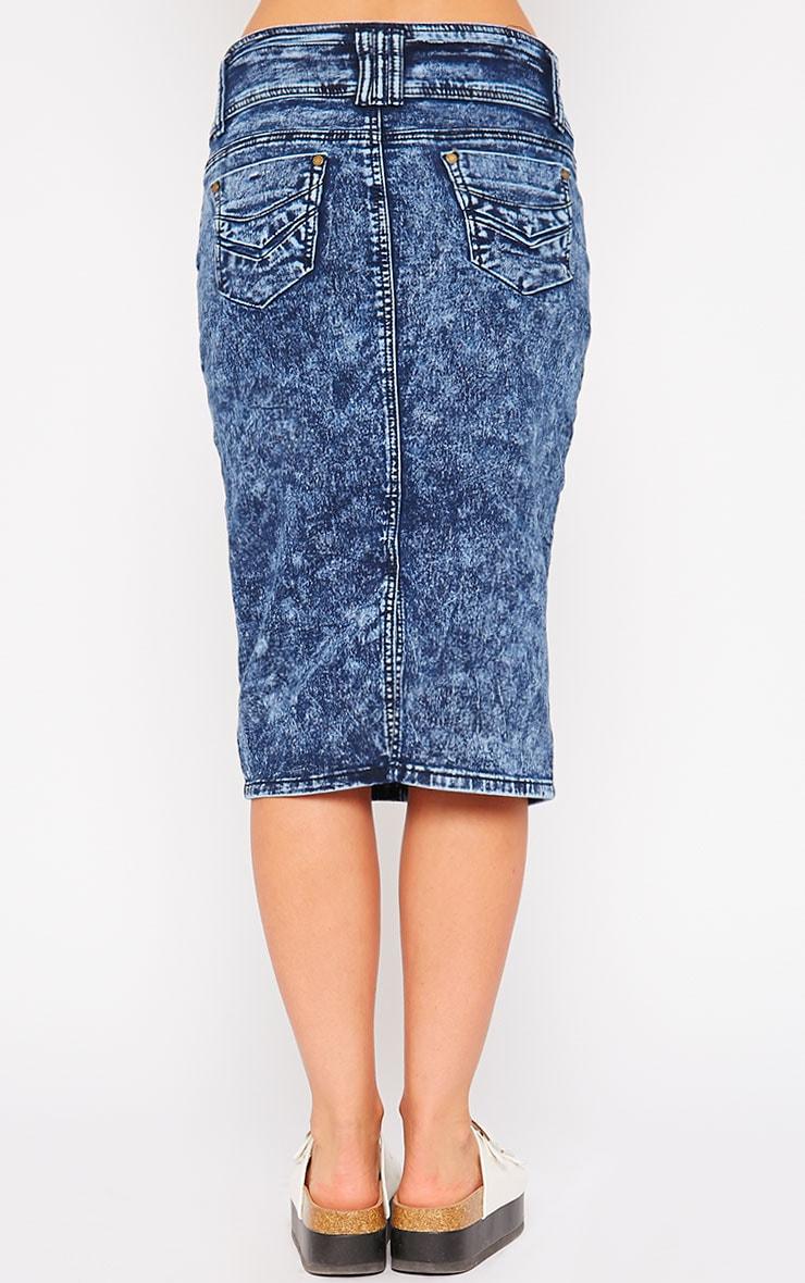 Edie Blue Acid Wash Denim Midi Skirt 4