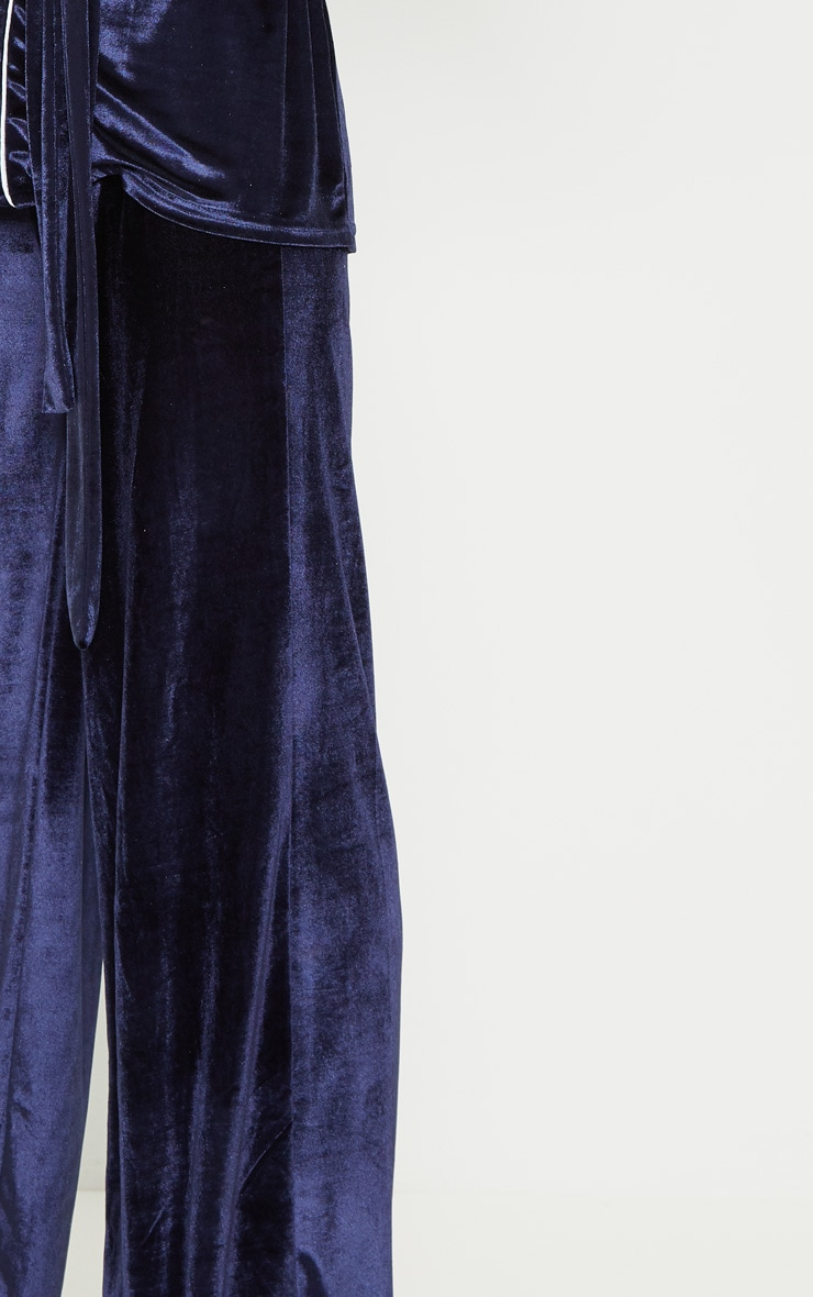 Navy Velvet High Waisted Wide Leg Pants 5