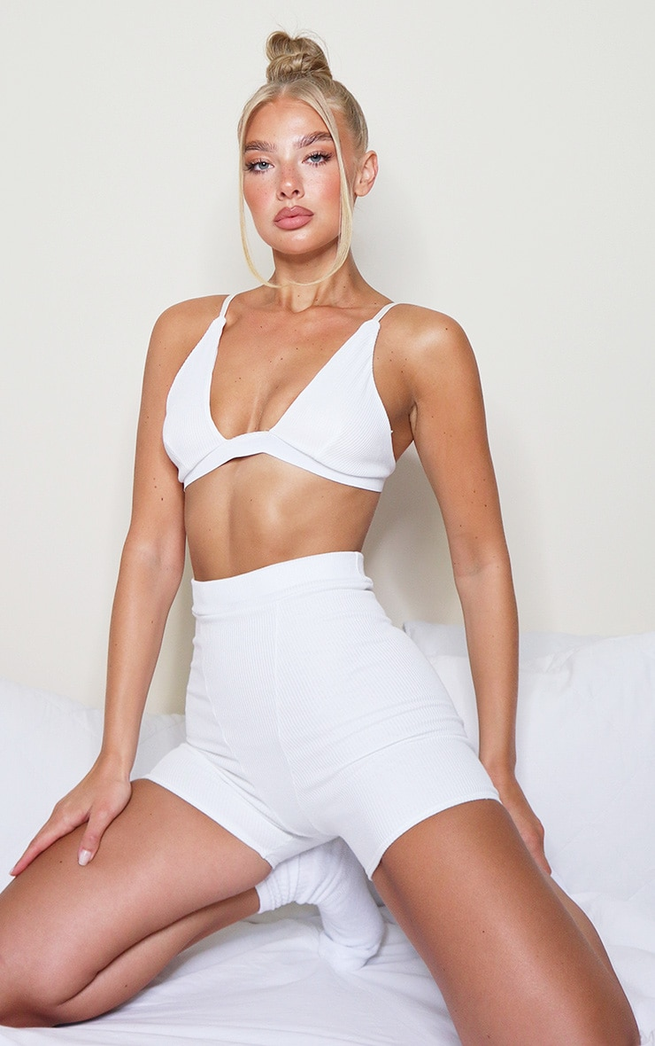 Cream Ribbed Plunge Bralet 1