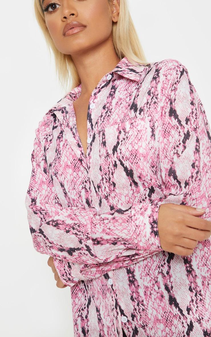 Petite Pink Snake Print Oversized Pocket Detail Shirt  5