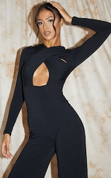 Recycled Tall Black Contour Jersey Under Bust Wide Leg Jumpsuit 4