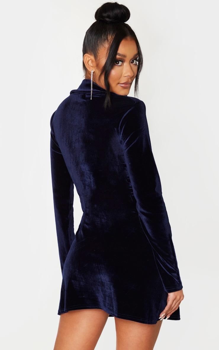 Navy Velvet Ring Belt Blazer Style Bodycon Dress 2