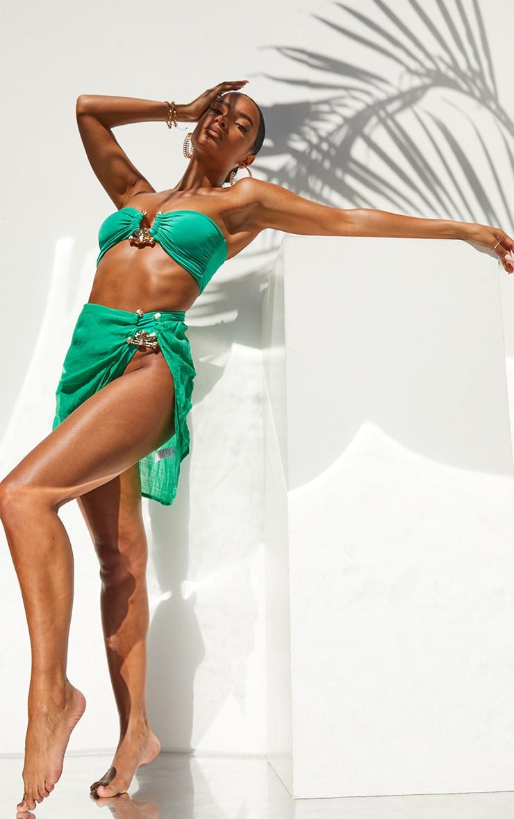 Green Linen Look Hammered Trim Beach Skirt 1