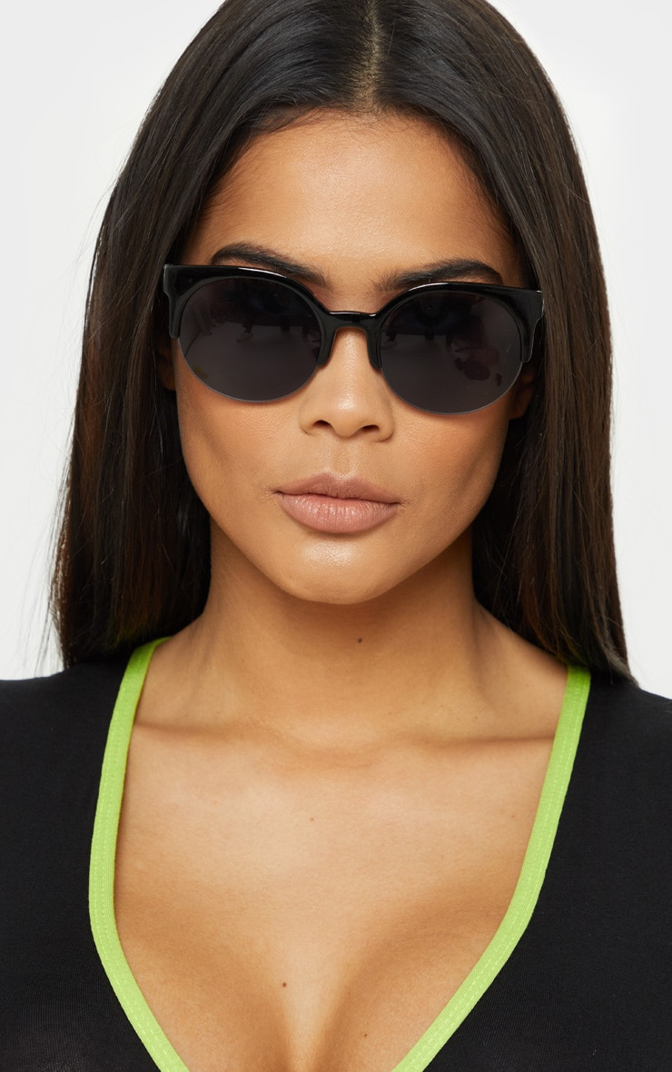 Black Brow Frame Round Sunglasses 1