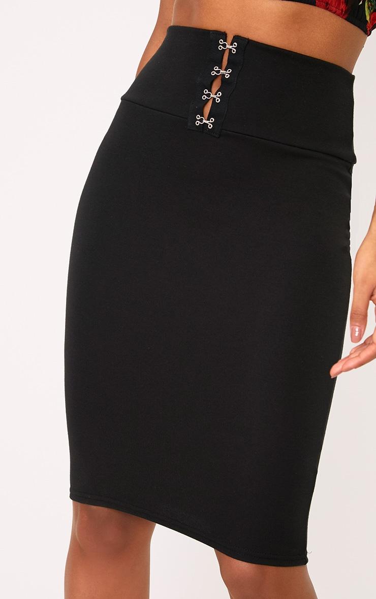 Black Corset Waist Midi Skirt 5