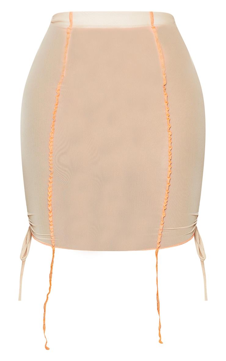 Shape Stone Sheer Mesh Seam Detail Ruched Side Bodycon Skirt 6
