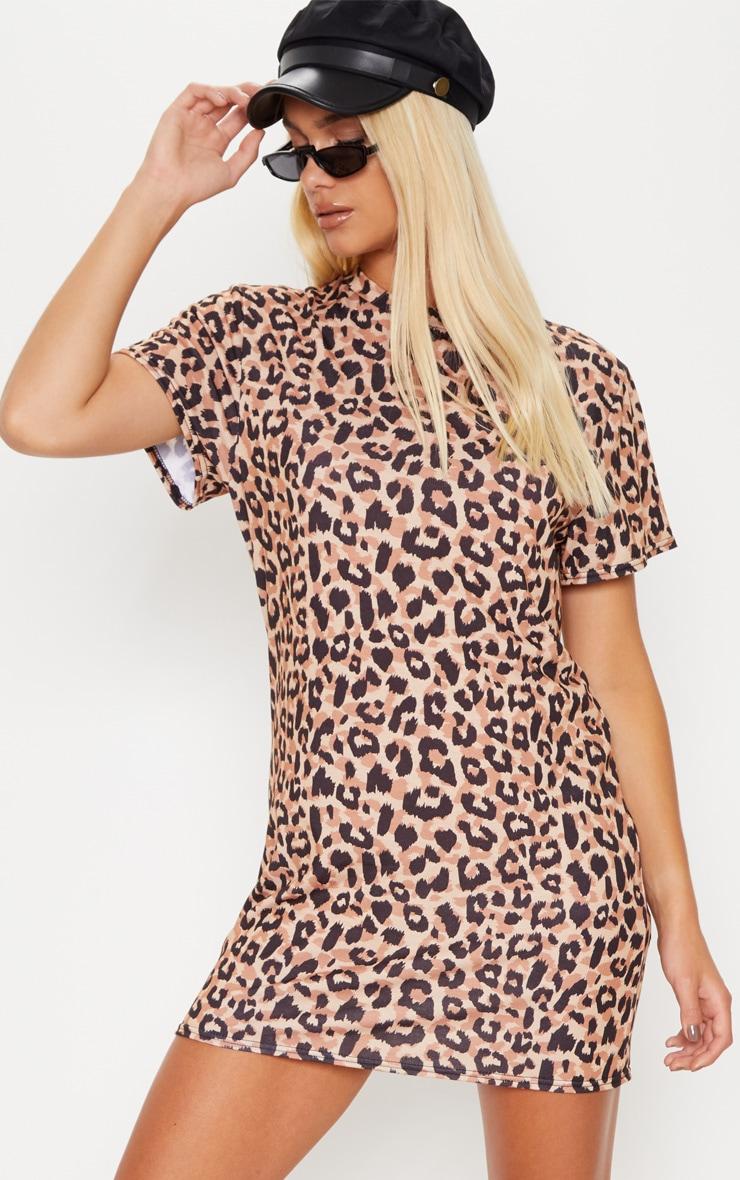 Basic Leopard Short Sleeve T Shirt Dress 4