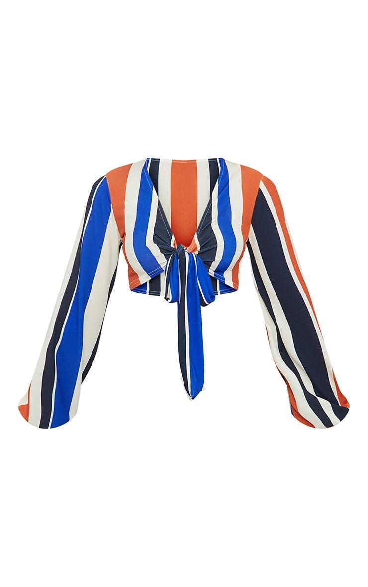 Petite Orange Striped Tie Front Crop Top 3