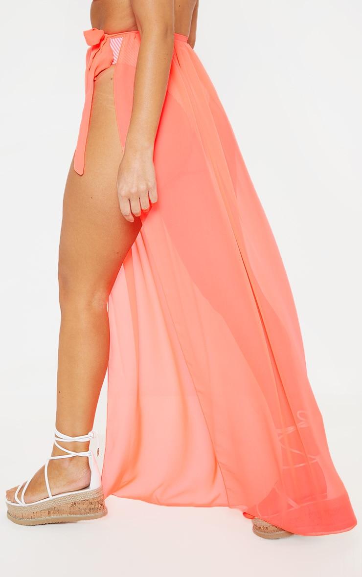 Coral Tie Side Maxi Beach Skirt 4