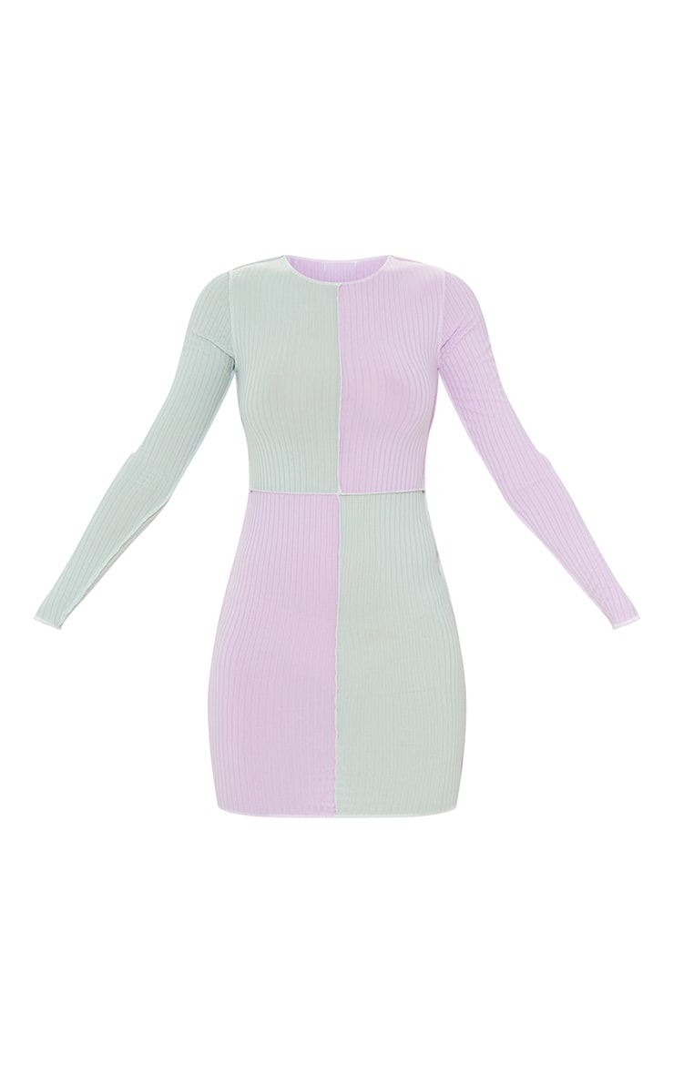 Lilac Rib Contrast Panel Stitch Detail Long Sleeve Bodycon Dress 5