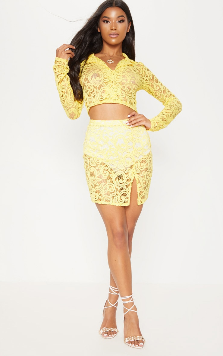 Yellow Lace Long Sleeve Collar Crop Top