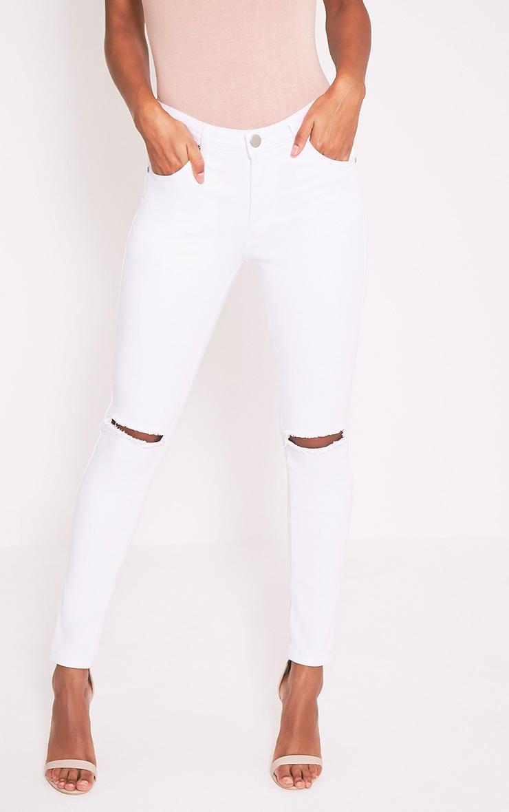 Kim jean slim blanc déchiré aux genoux 4